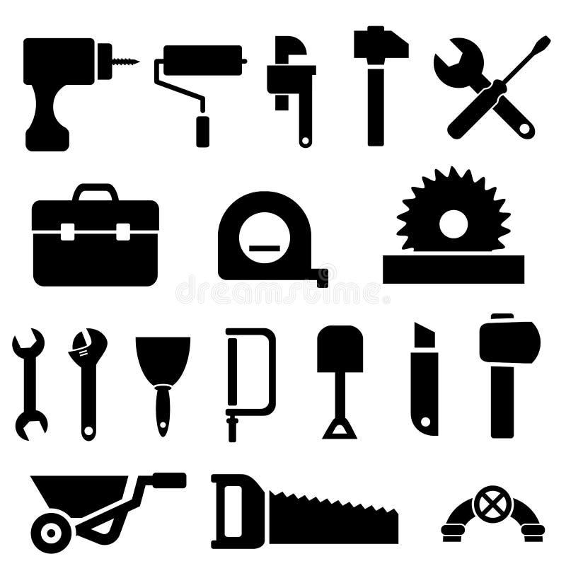 Иконы инструмента в черноте иллюстрация вектора