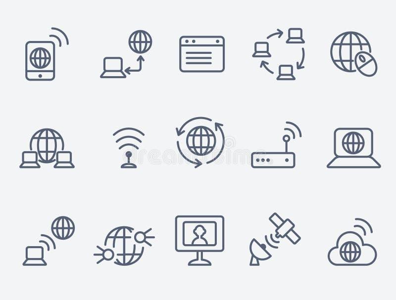 Иконы интернета иллюстрация вектора