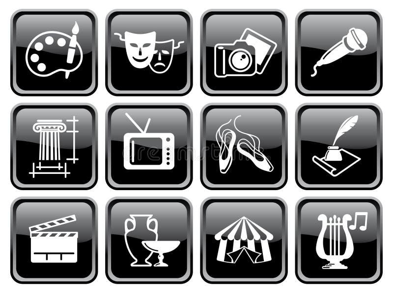 Иконы искусств на кнопках иллюстрация штока