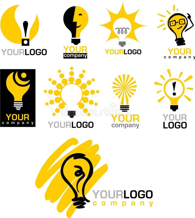 Иконы и логосы электрической лампочки иллюстрация штока