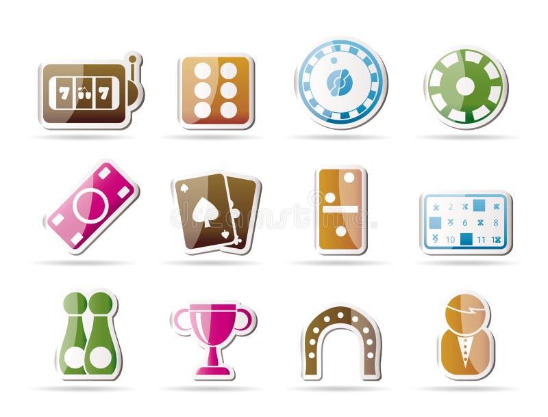 иконы казино играя в азартные игры иллюстрация вектора