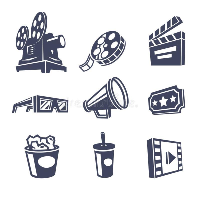 иконы кино изолировали белизну комплекта кино иллюстрация штока
