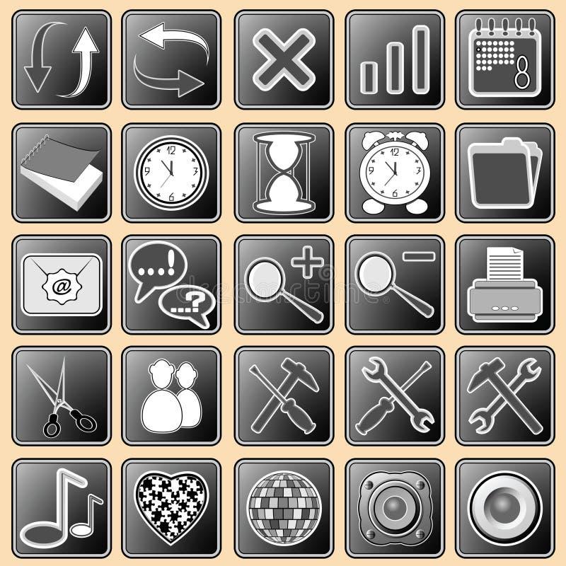 иконы кнопок темно установили сеть белой бесплатная иллюстрация