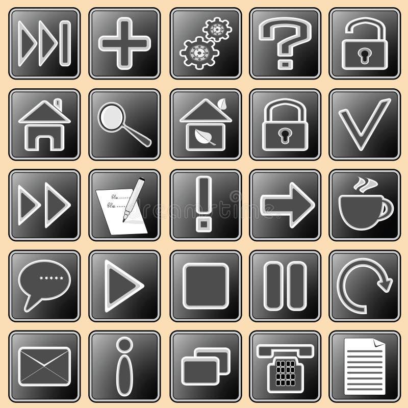 иконы кнопок темно установили сеть белыми иллюстрация штока