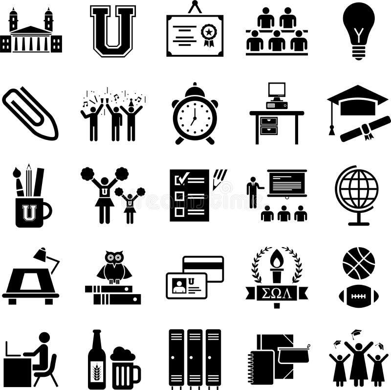 Иконы коллежа иллюстрация вектора