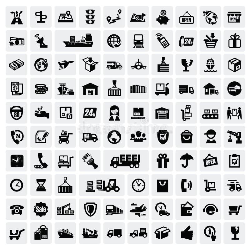 Иконы логистических и перевозкы груза бесплатная иллюстрация
