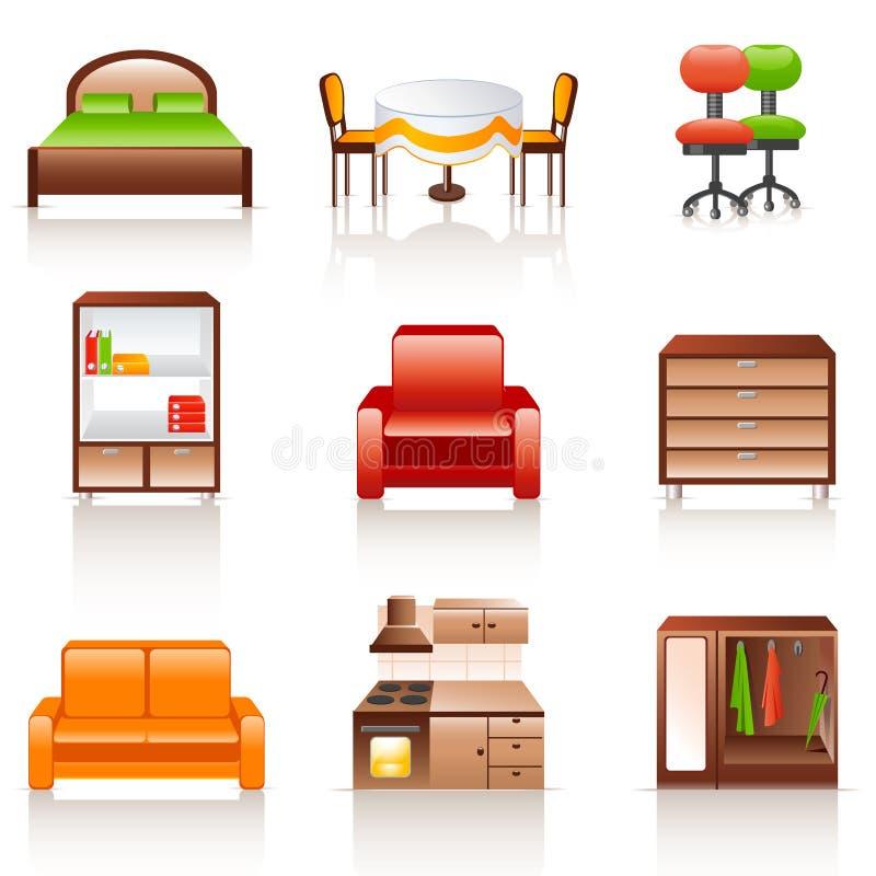 иконы мебели иллюстрация штока