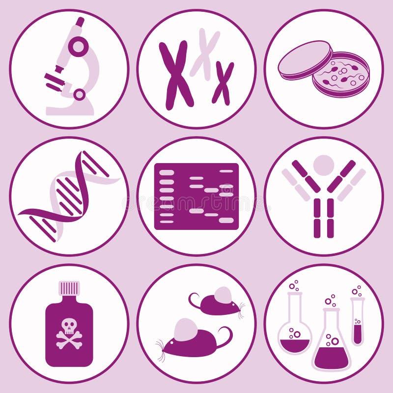 Иконы науки биологии иллюстрация вектора