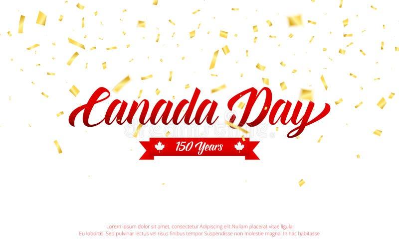 иконы дня Канады кнопок установили Канада 150 лет знамени годовщины с confetti золота падая День независимости Канады иллюстрация вектора