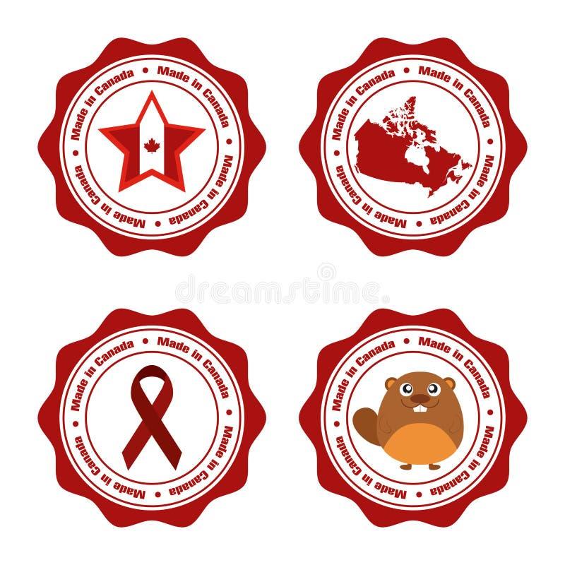 иконы дня Канады кнопок установили бесплатная иллюстрация