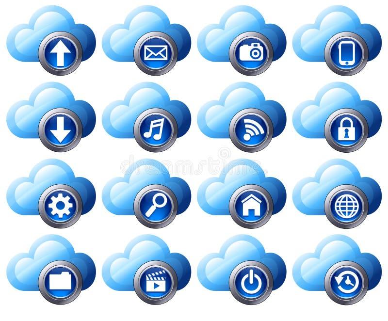 иконы облака вычисляя иллюстрация штока