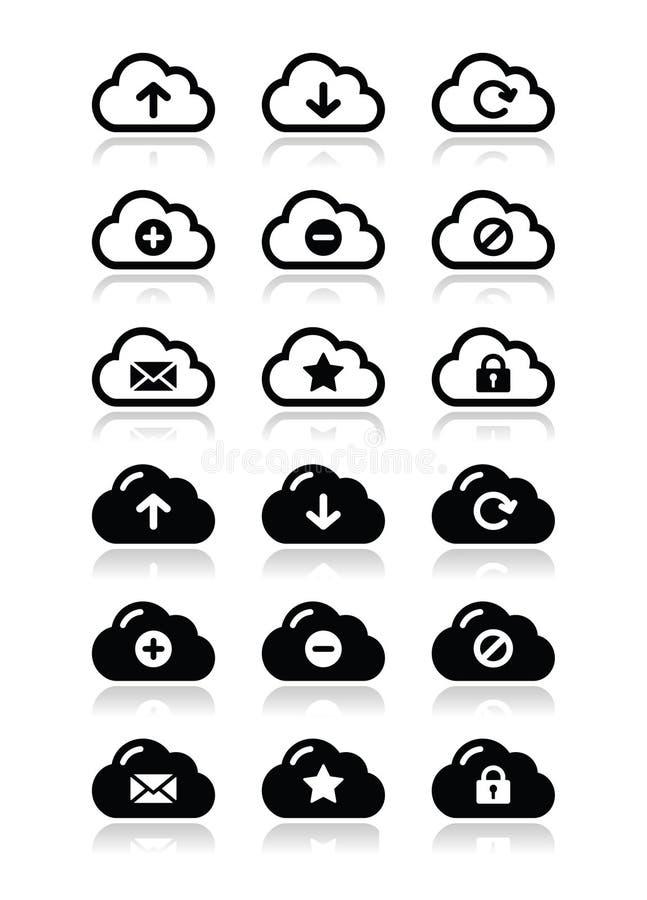 Иконы облака установленные для сети иллюстрация вектора