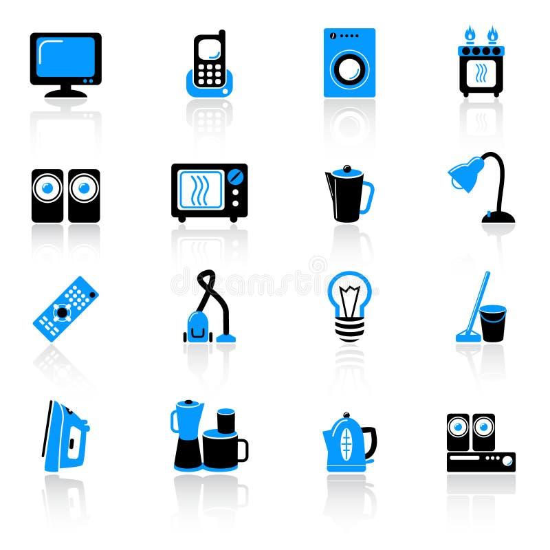 иконы оборудования домашние иллюстрация вектора