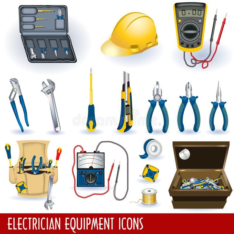 иконы оборудования электрика иллюстрация штока