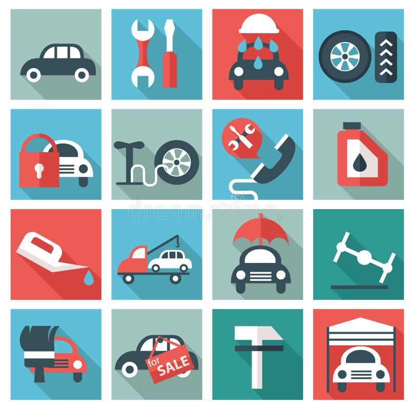 Иконы обслуживания автомобиля иллюстрация вектора