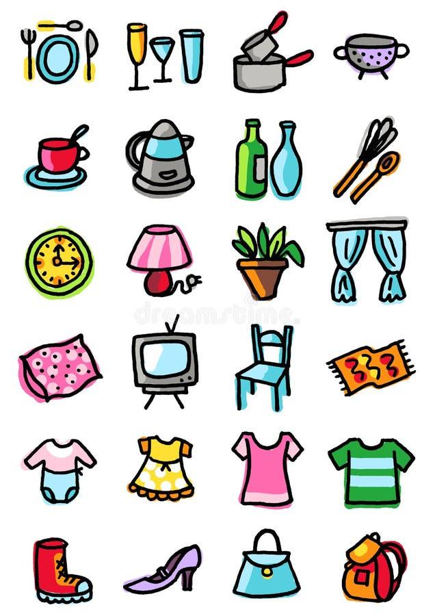 иконы одежды домашние иллюстрация вектора