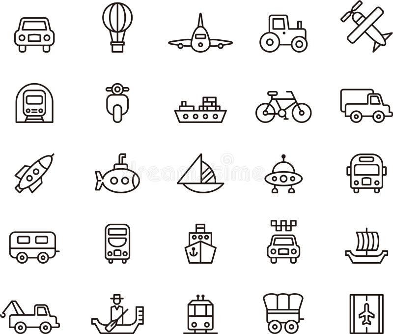 Иконы перевозки иллюстрация штока