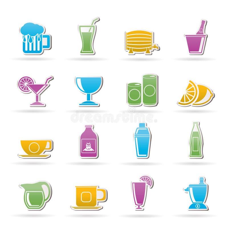 иконы питья напитков иллюстрация штока