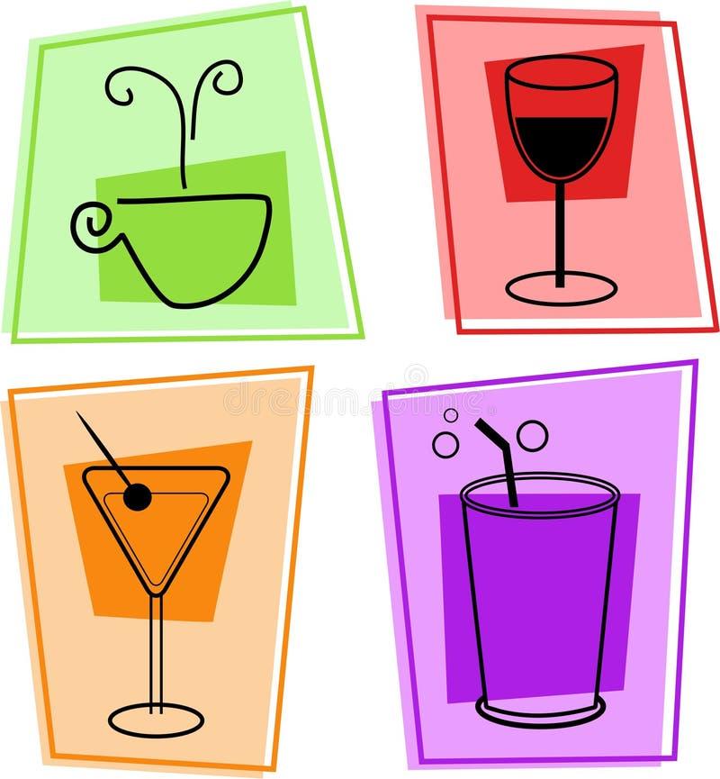 иконы питья иллюстрация вектора