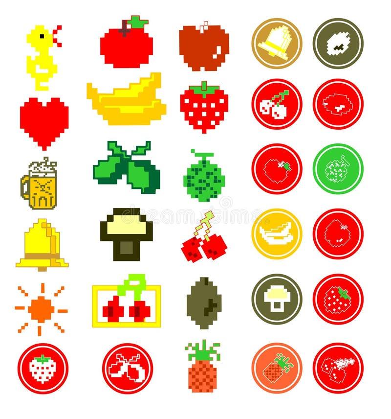 иконы плодоовощ pixelated лето иллюстрация штока
