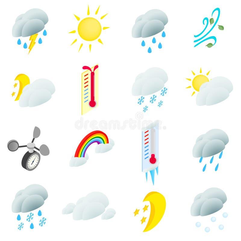 Иконы погоды установленные иллюстрация вектора