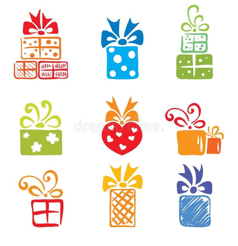 иконы подарка коробки иллюстрация штока