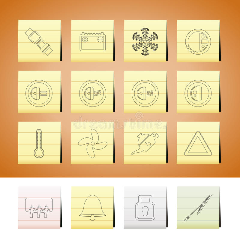 иконы приборной панели автомобиля иллюстрация вектора