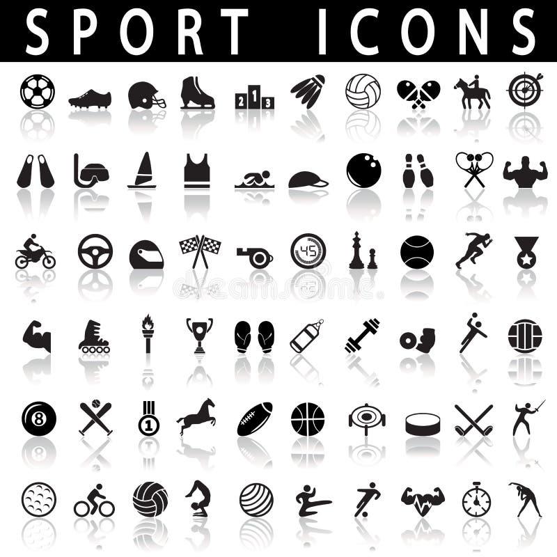 иконы пригодности 7 спортов силуэтов иллюстрация штока