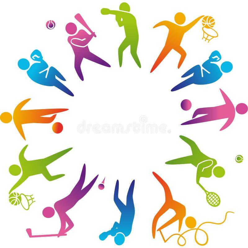 иконы пригодности 7 спортов силуэтов иллюстрация вектора