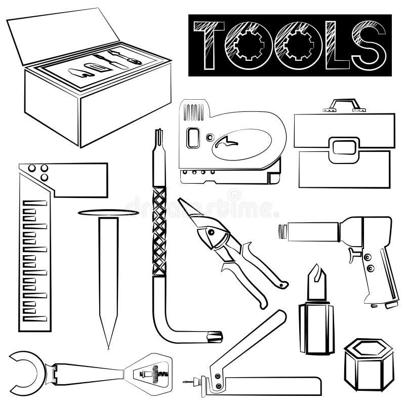иконы плотников другие работники инструментов водопроводчиков иллюстрация вектора
