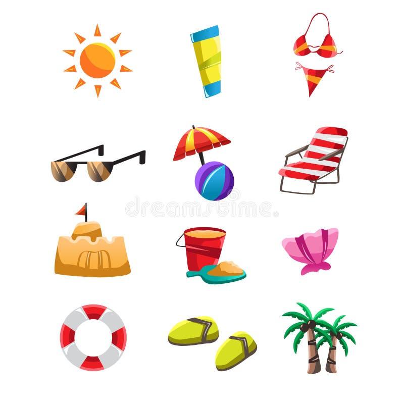 Иконы пляжа бесплатная иллюстрация