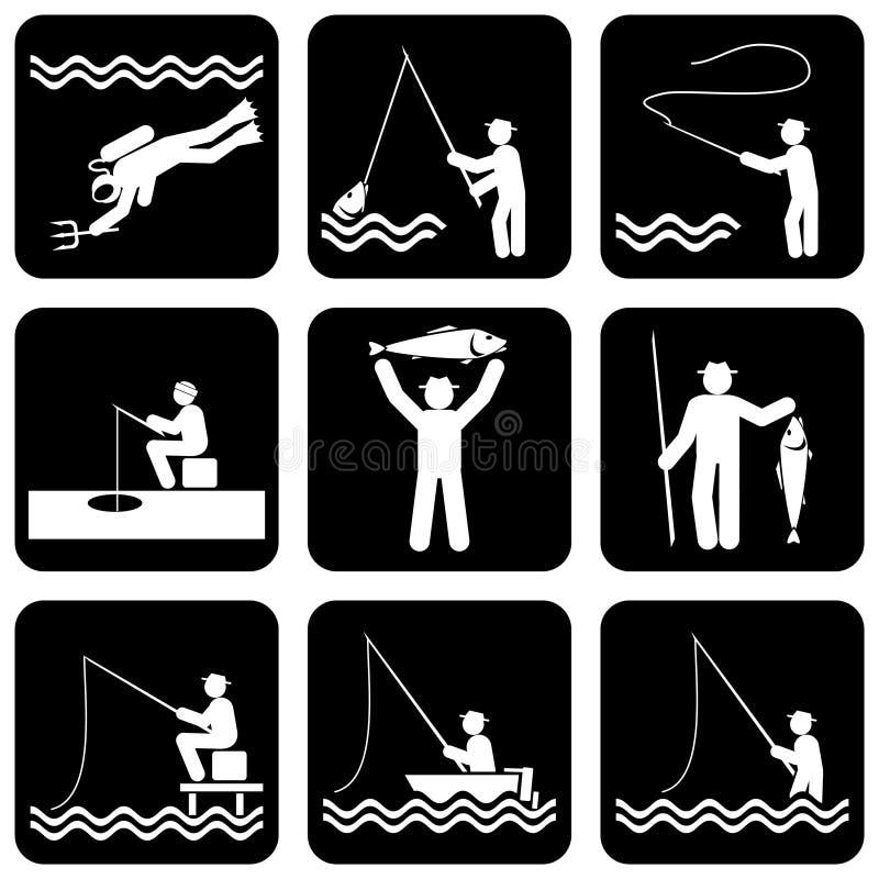 иконы рыболовства иллюстрация штока