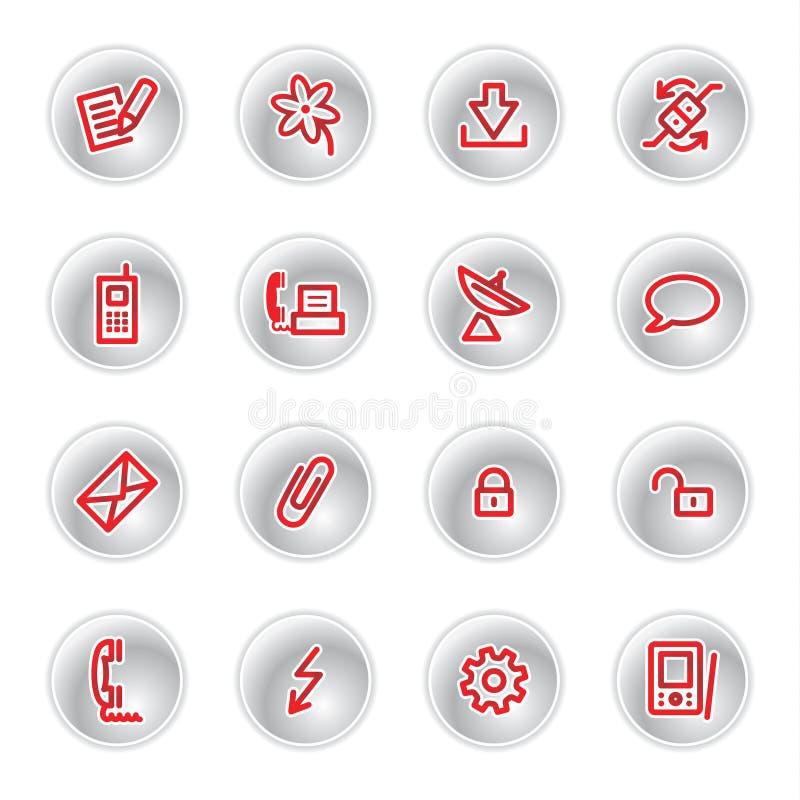 иконы связи красные иллюстрация штока