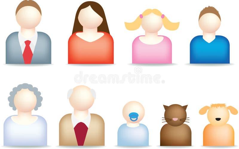 иконы семьи самомоднейшие иллюстрация штока