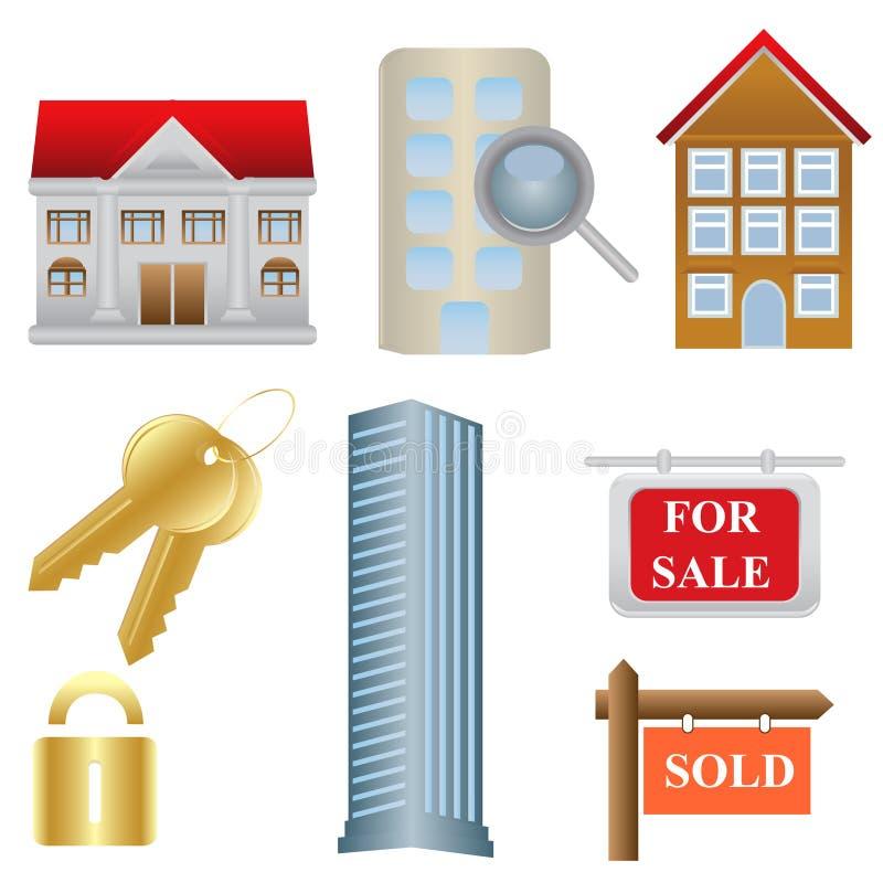 иконы снабжения жилищем имущества реальные иллюстрация штока