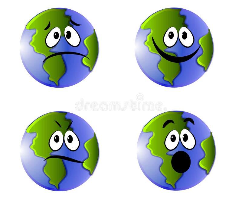 иконы сторон emoticons земли иллюстрация вектора