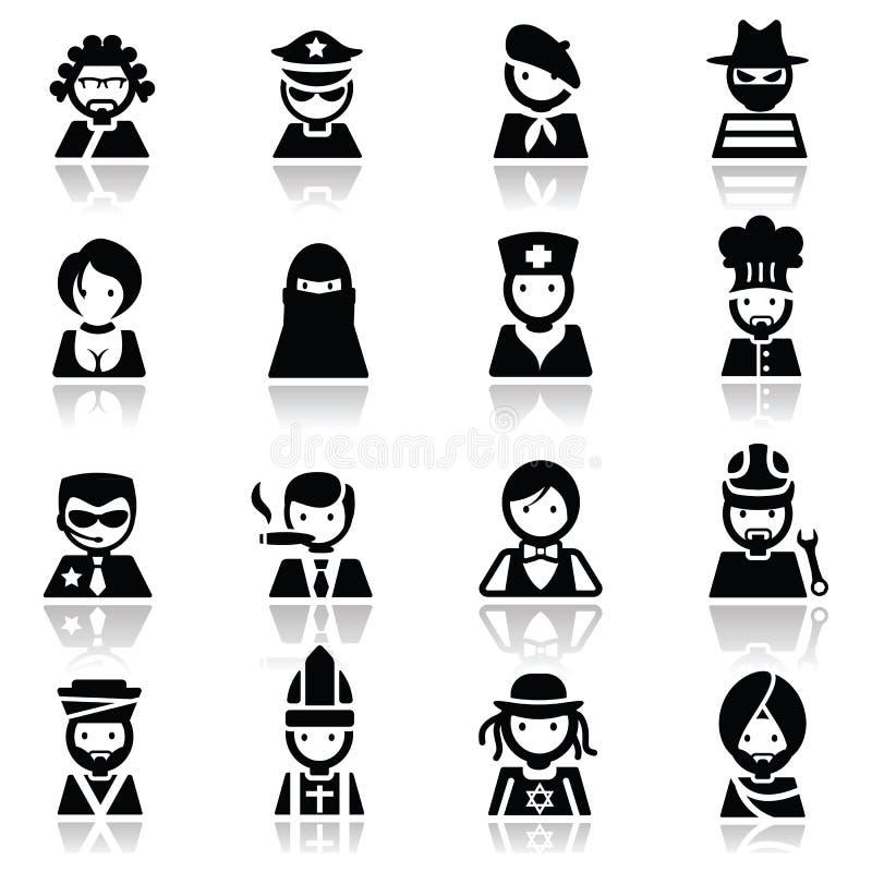 Иконы установили стороны людей стоковое фото rf