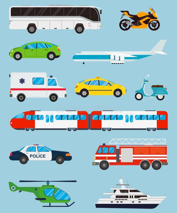 иконы установили перевозку Переход муниципального и перемещения общественный транспорт Плоский стиль дизайна вектор бесплатная иллюстрация