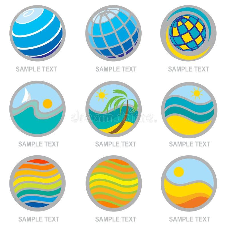 иконы установленные каникула перемещения иллюстрация штока