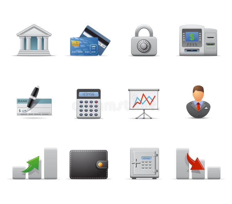 иконы финансов дела иллюстрация вектора