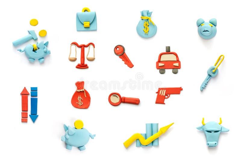 иконы финансов злодеяния иллюстрация вектора