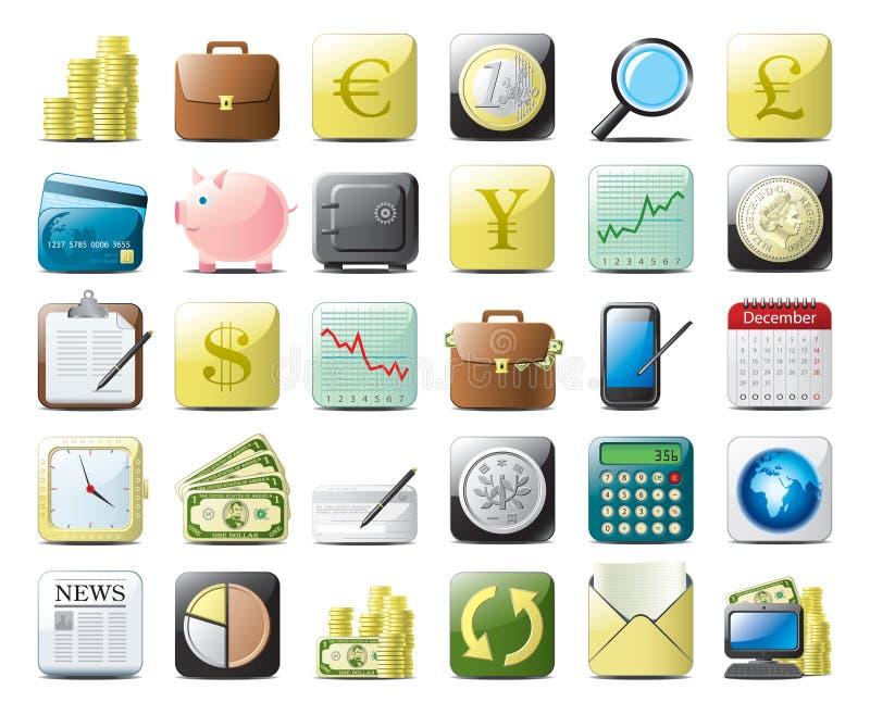 иконы финансов иллюстрация вектора