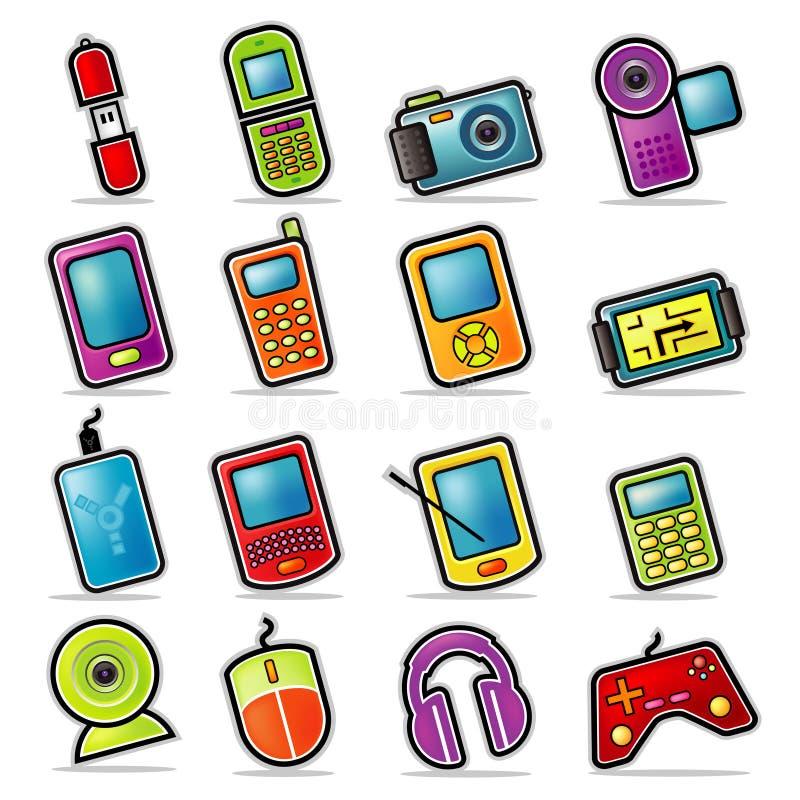 иконы цветастой электроники handheld иллюстрация вектора