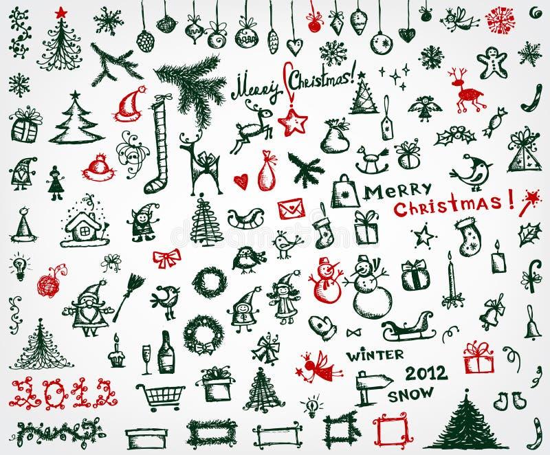 иконы чертежа конструкции рождества делают эскиз к вашему иллюстрация вектора