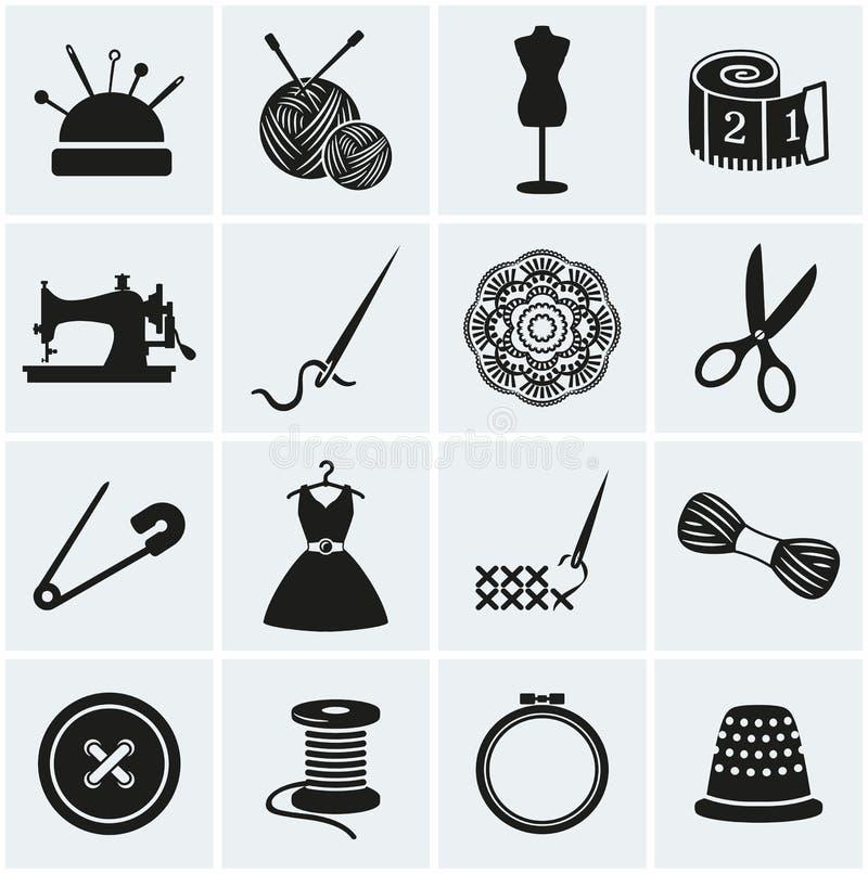 Иконы шить и needlework вектор комплекта сердец шаржа приполюсный иллюстрация вектора