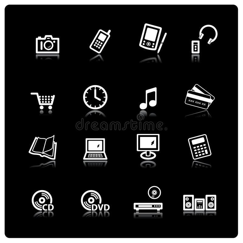 иконы электроники домашние белые иллюстрация вектора
