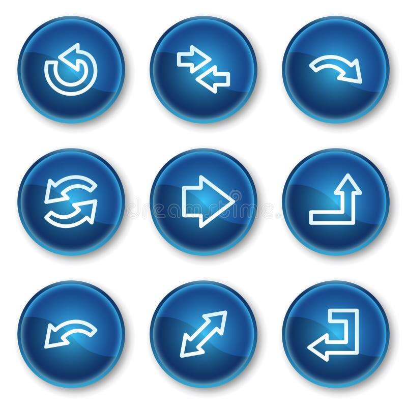 иконы 1 круга кнопок стрелок голубые установили сеть иллюстрация вектора