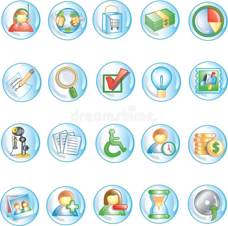 иконы 1 круглые иллюстрация вектора