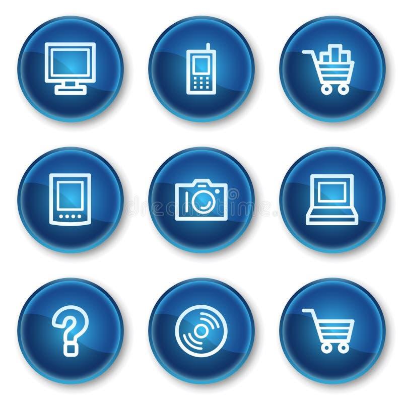 иконы 1 электроники круга кнопок сини установили сеть иллюстрация штока