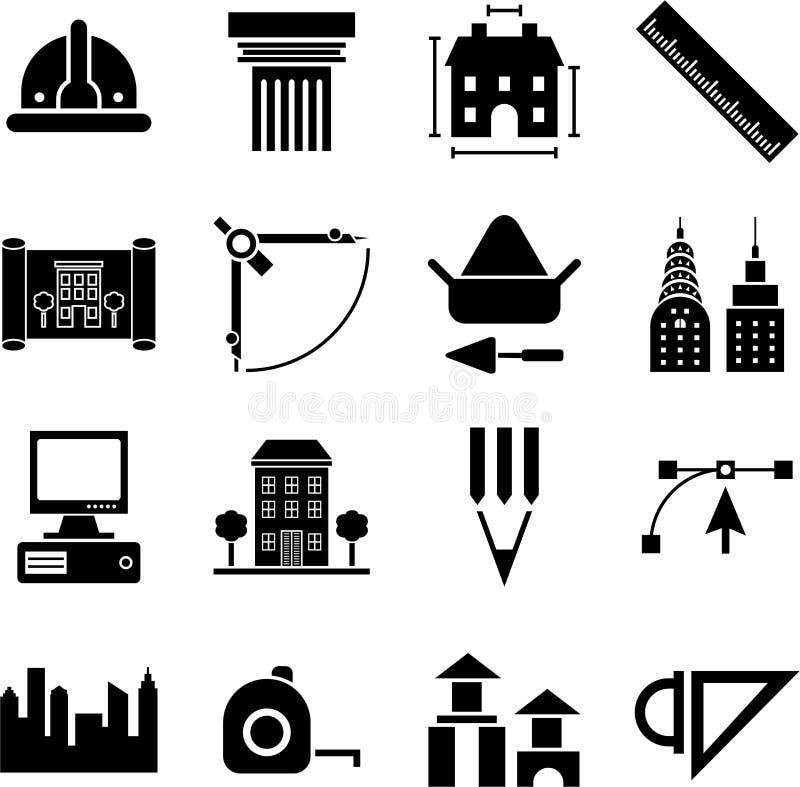 Иконы Architecture&constrcution иллюстрация вектора